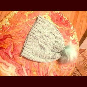 New York and Co mint knit beanie  w fluff ball